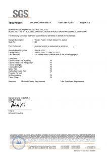 Tkaná látka v tmavě zelené barvě pro bundy SGS certifikáty